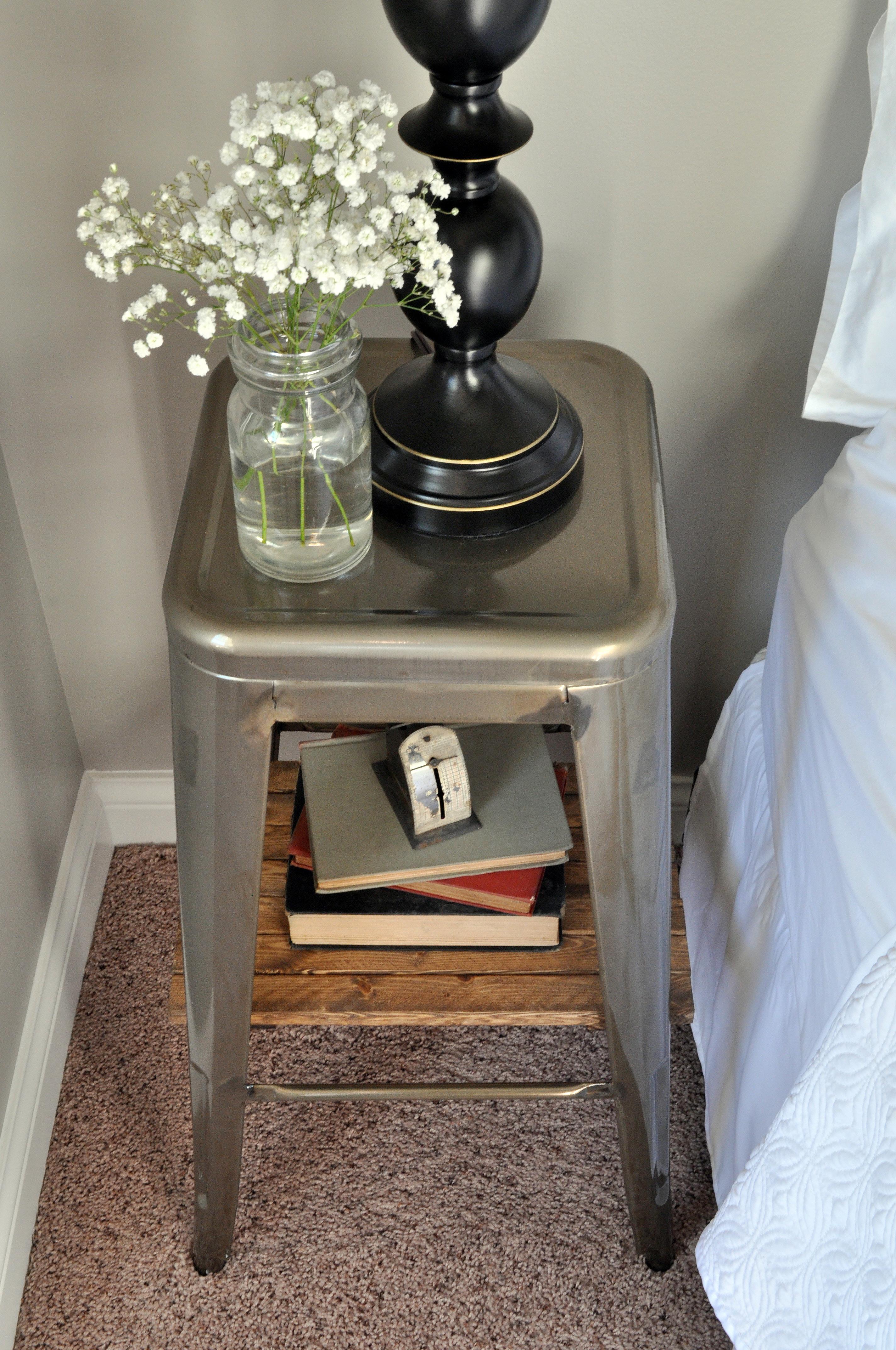 Bedside Footstool: Industrial Stool Nightstands