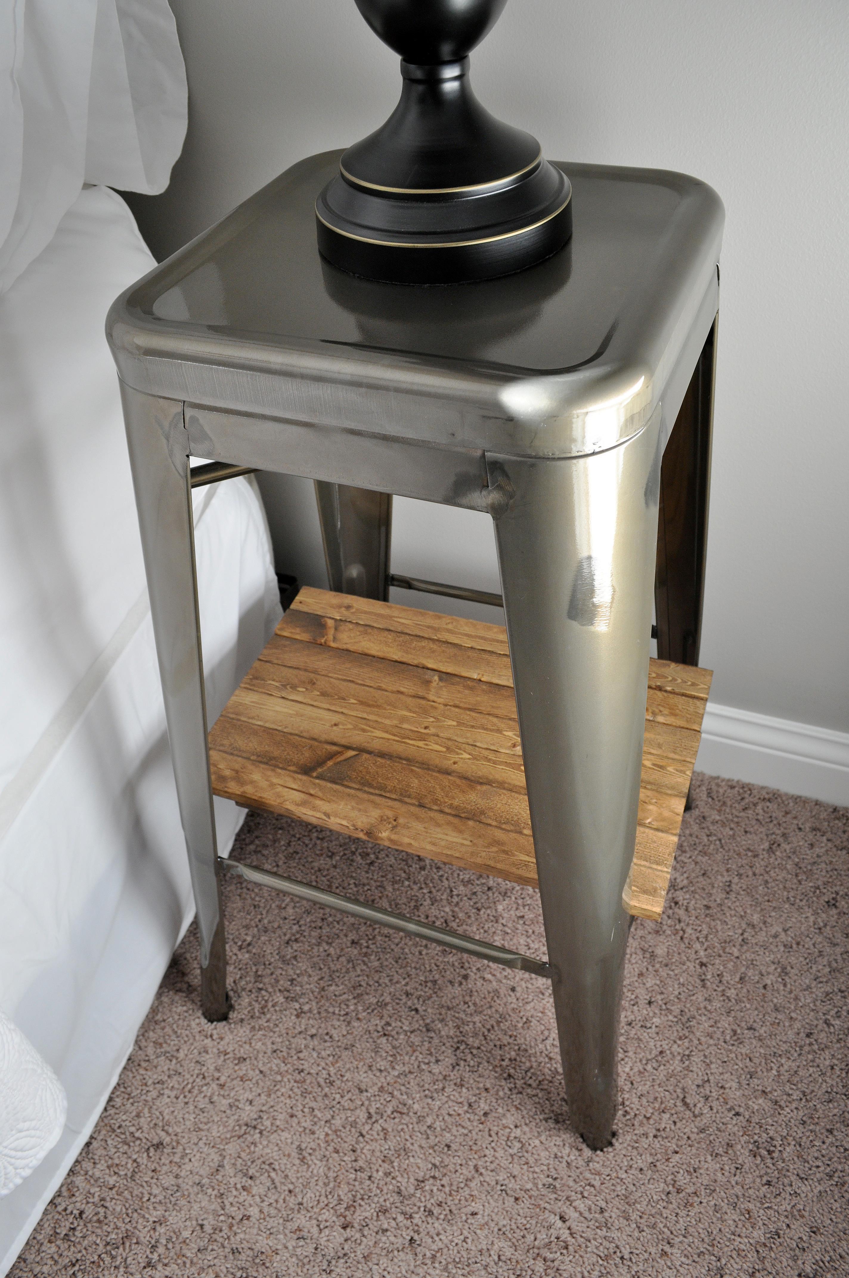 Stool Bedside Table: Industrial Stool Nightstands