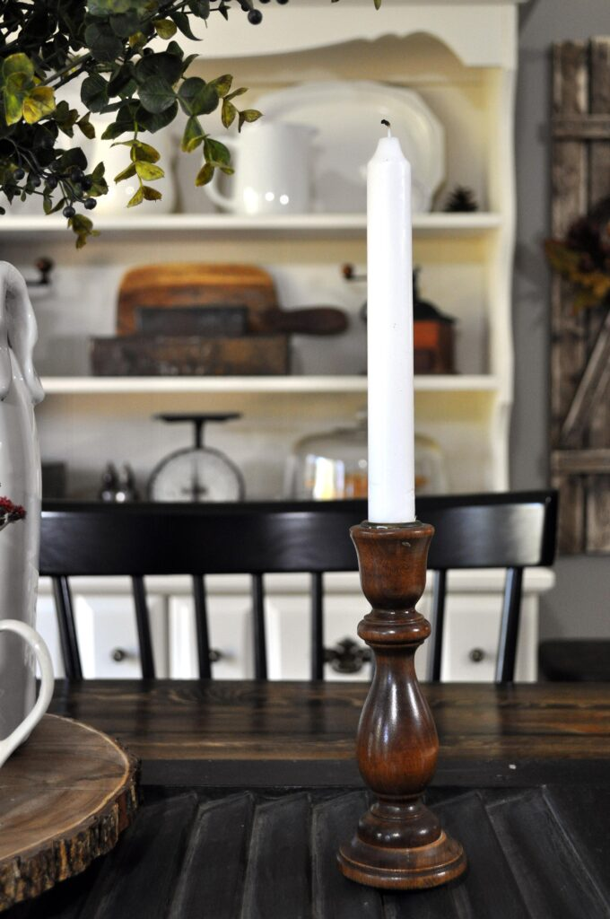 Farmhouse Fall Tour of Homes. Wood Candlestick.