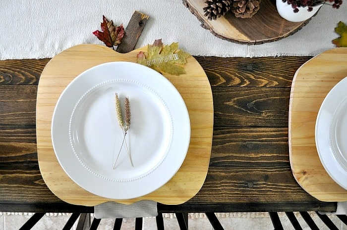Pumpkin Plate Chargers. Chargers on Farmhouse Table