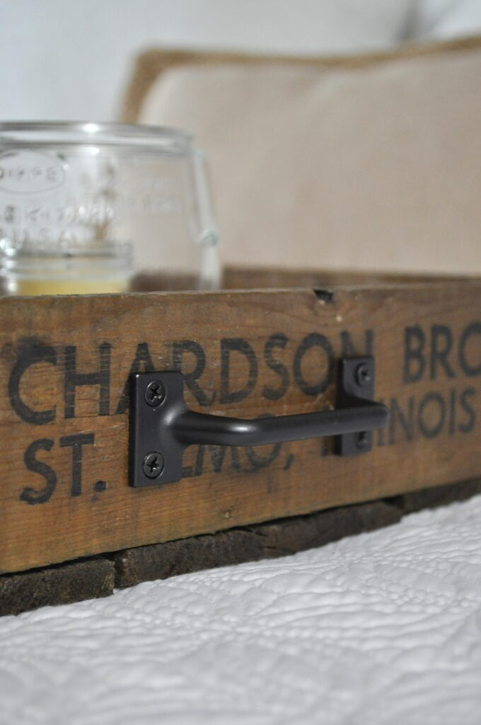 Crate Serving Tray. Close up Handle