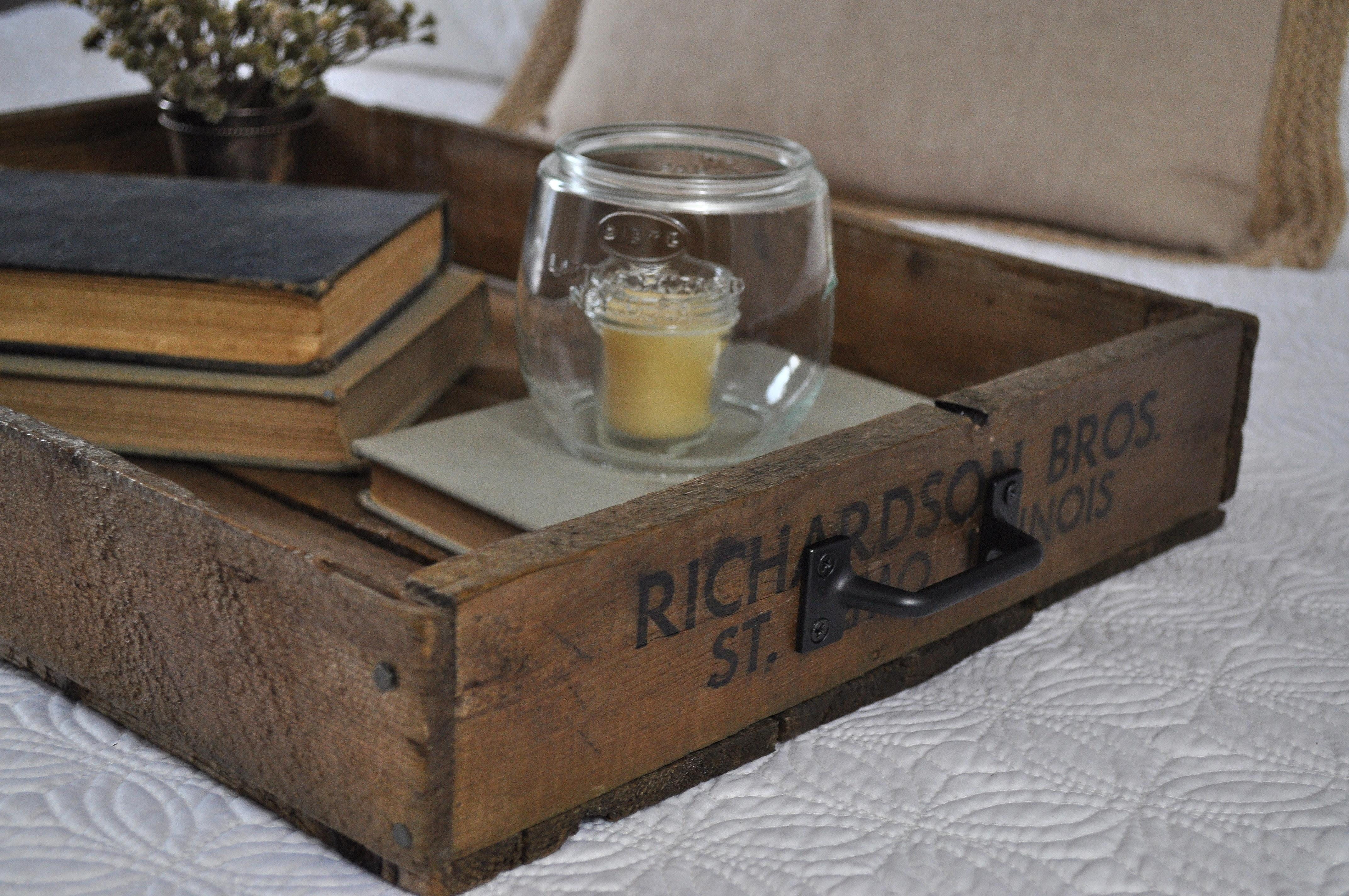 Crate Serving Tray Little Glass Jar