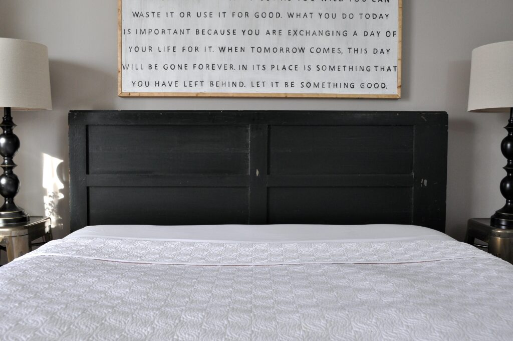 Vintage Door Headboard. Black Door Headboard