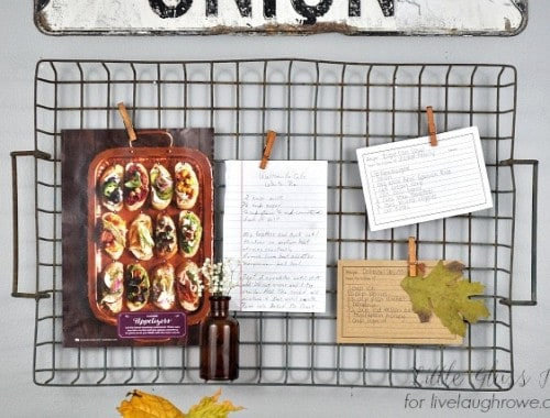 Wire Basket Recipe Board. Memo Board