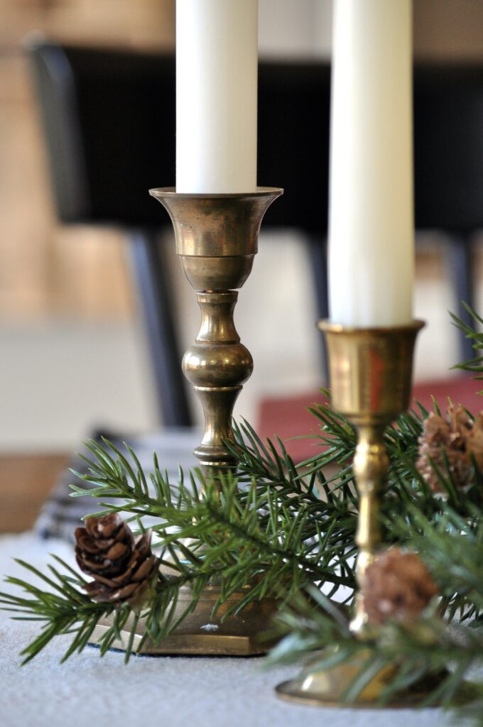 Farmhouse Christmas Home Tour. Brass Candles