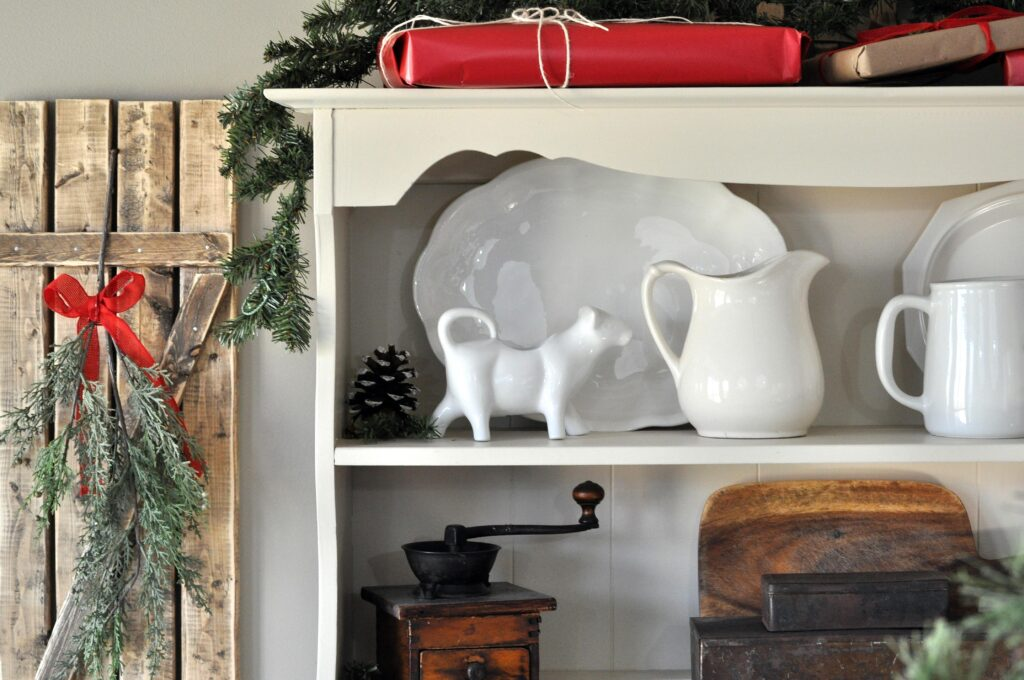 Farmhouse Christmas Home Tour. Dining Room Hutch