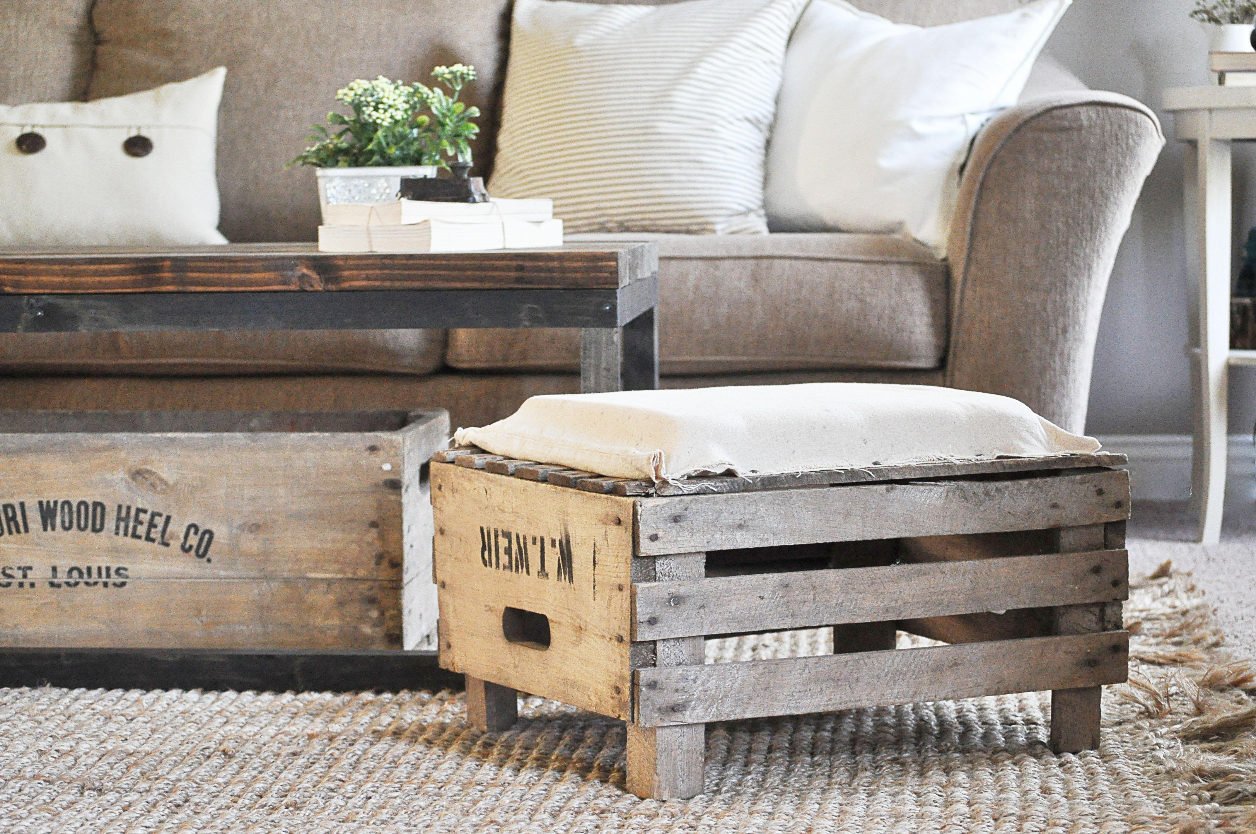 apple crate ottoman little glass jar. Black Bedroom Furniture Sets. Home Design Ideas