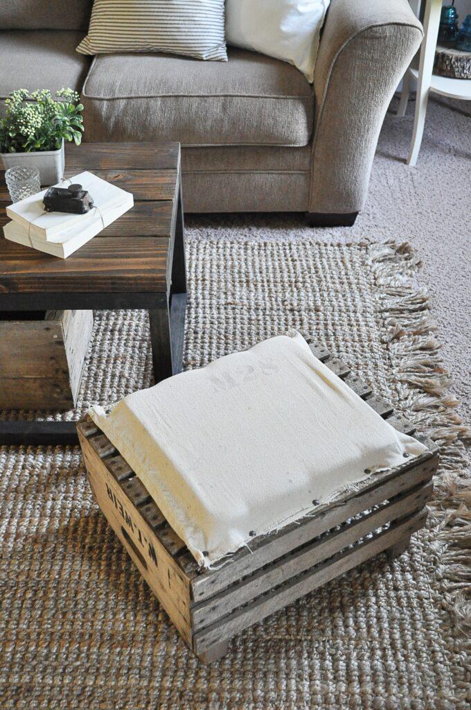 DIY Apple Crate Ottoman
