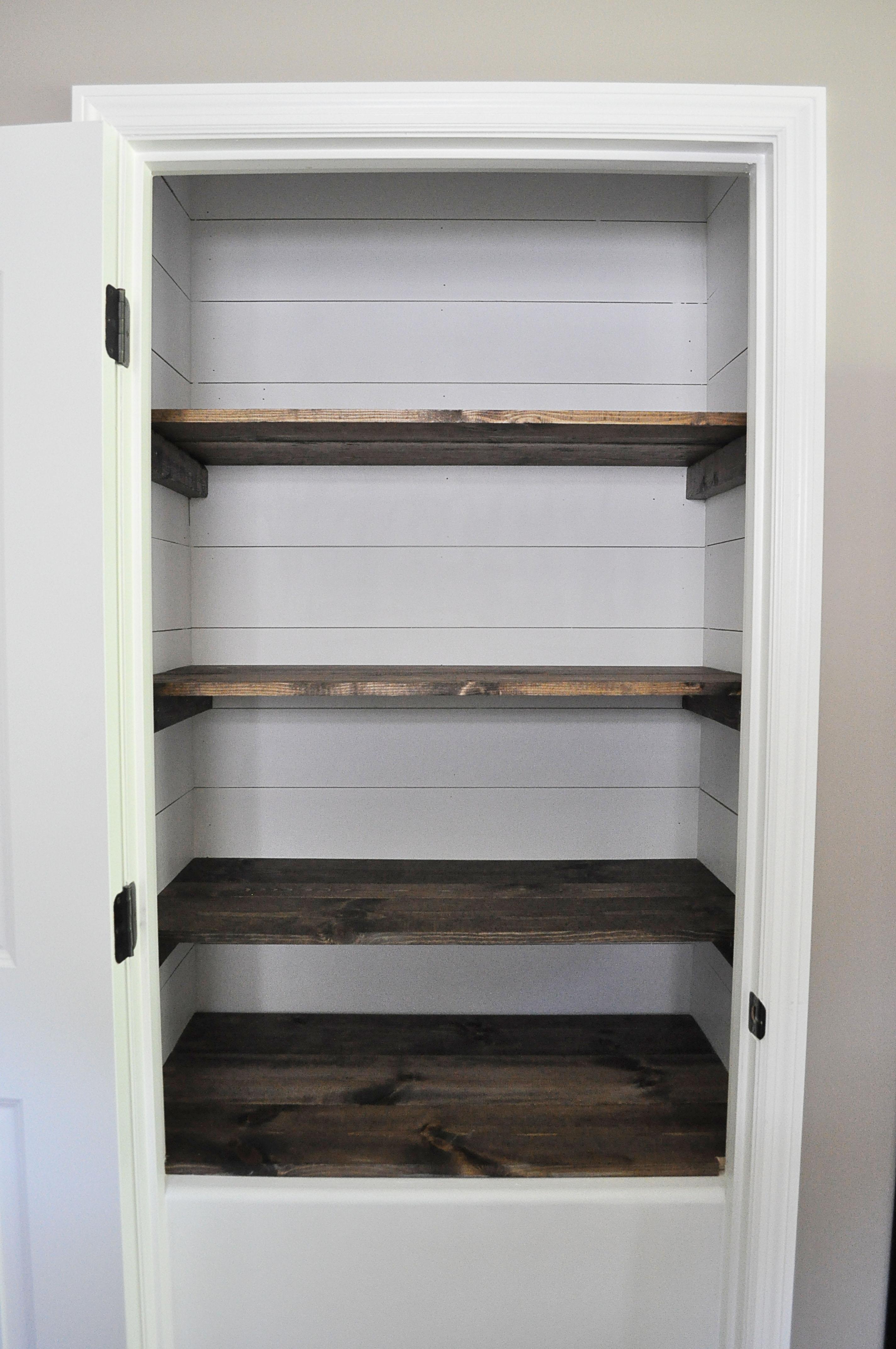 Farmhouse pantry makeover little glass jar for Wood shelves for kitchen pantry