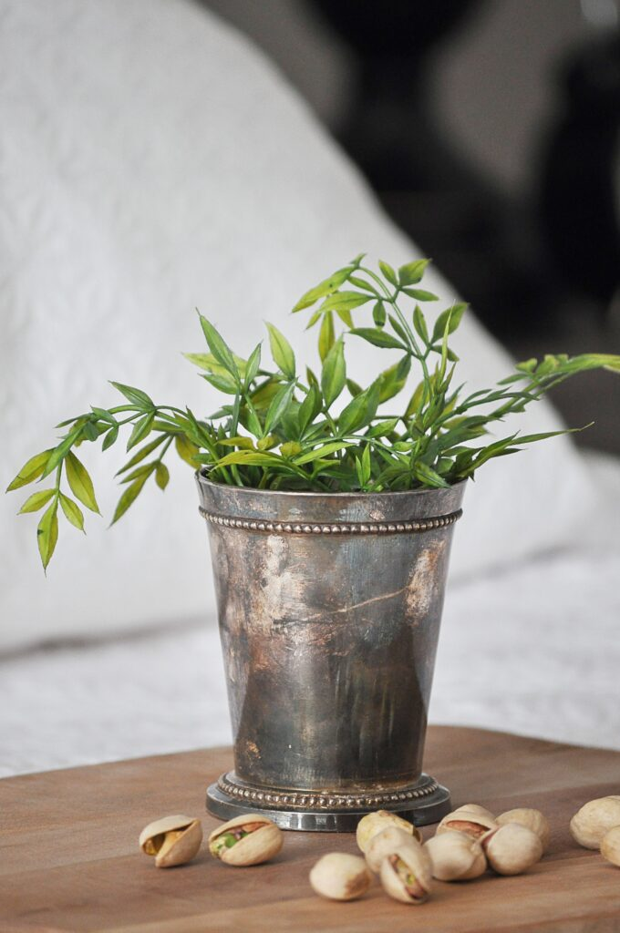 How to Decorate with Faux Greenery via Little Glass Jar