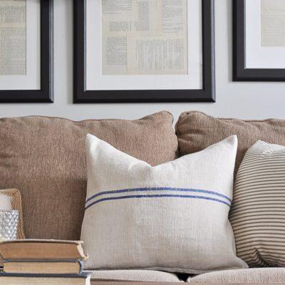 No-Sew Grain Sack Pillows
