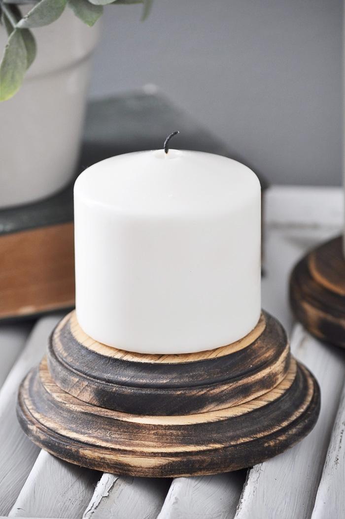 DIY Farmhouse Candle Pedestals via Little Glass Jar