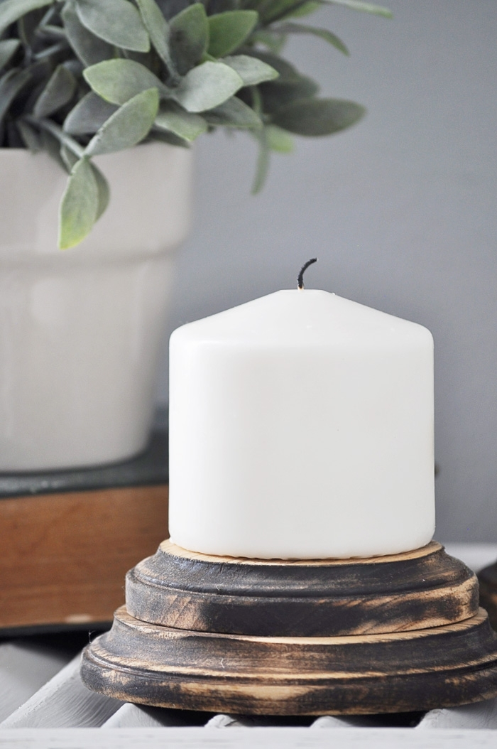 DIY Farmhouse Candle Pedestals via Little Glass Jar