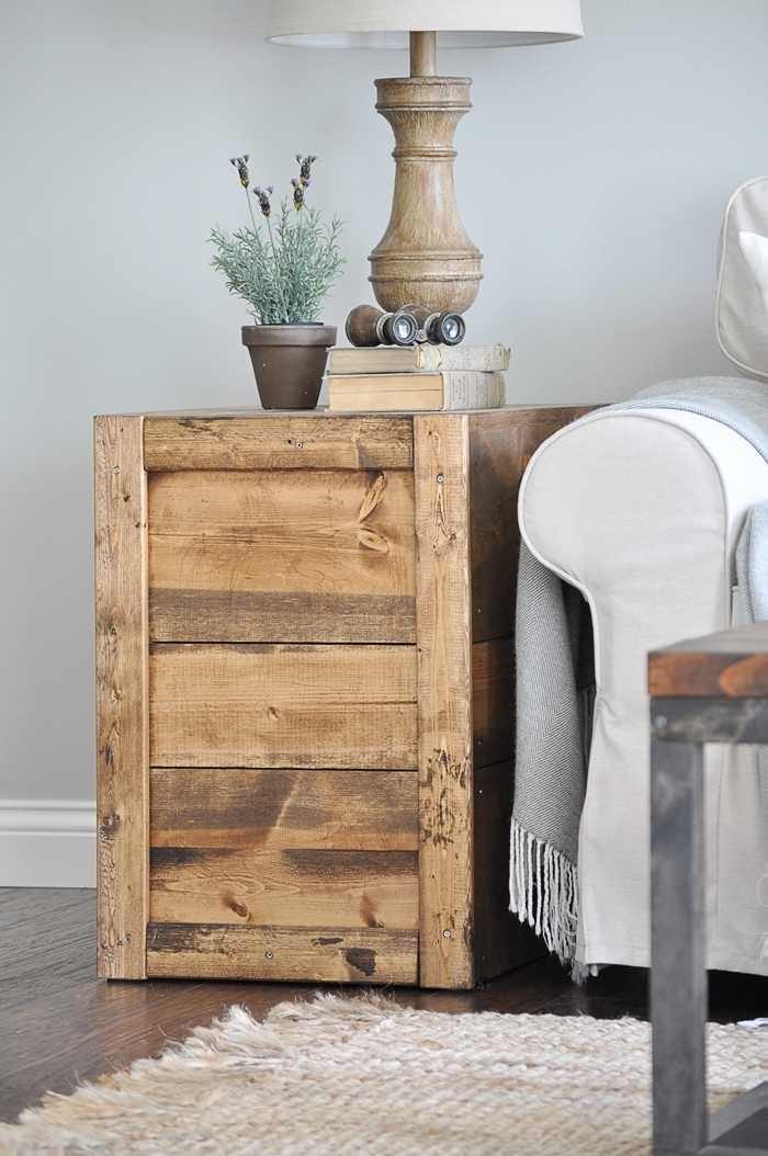 Make These Rustic, Farmhouse Style DIY Crate Side Tables For Your Living  Room Or Bedroom