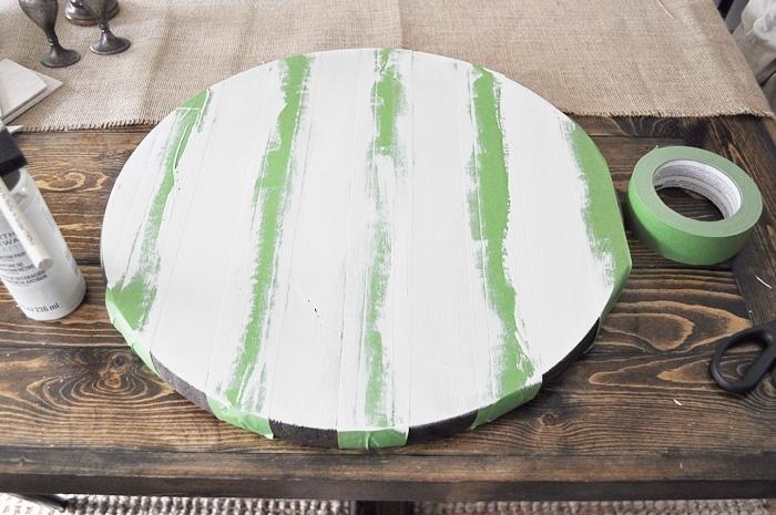DIY Striped Farmhouse Tray.