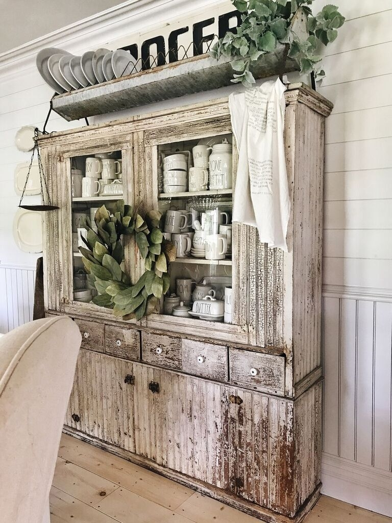 Ten Beautiful Farmhouse Style Hutches Little Glass Jar