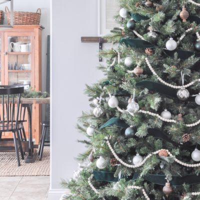 Green, White, and Wood Christmas Tree