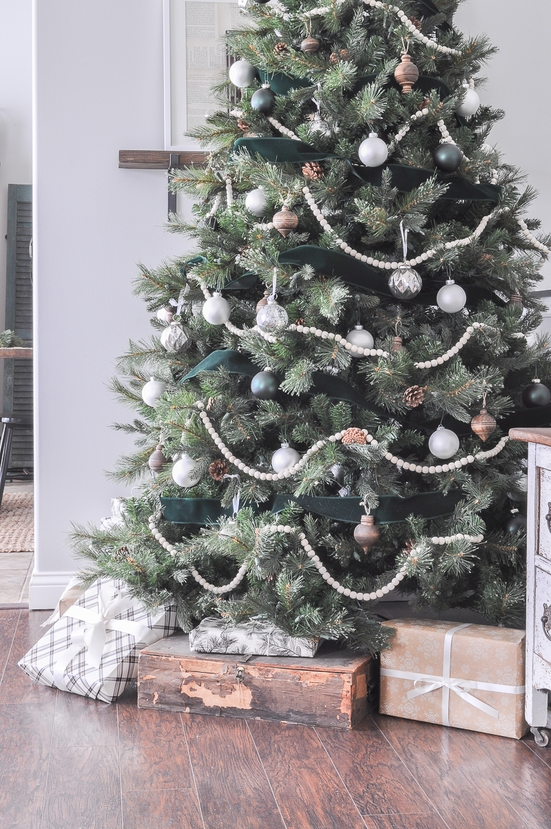 Green White and Wood Christmas Tree
