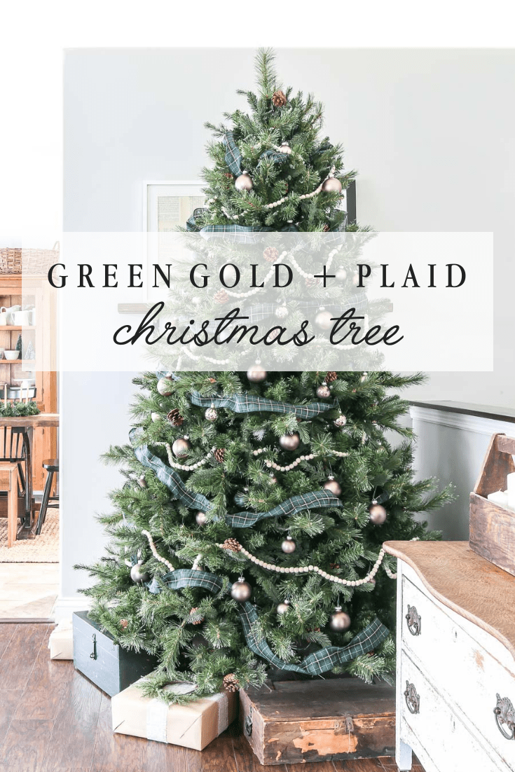 Green Gold and Plaid Christmas Tree