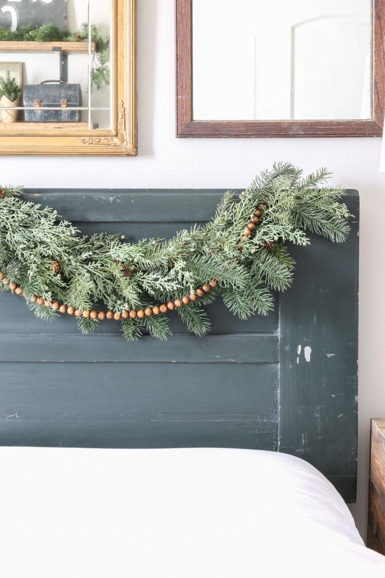 How to Hang Christmas Garland on a Bedroom Headboard