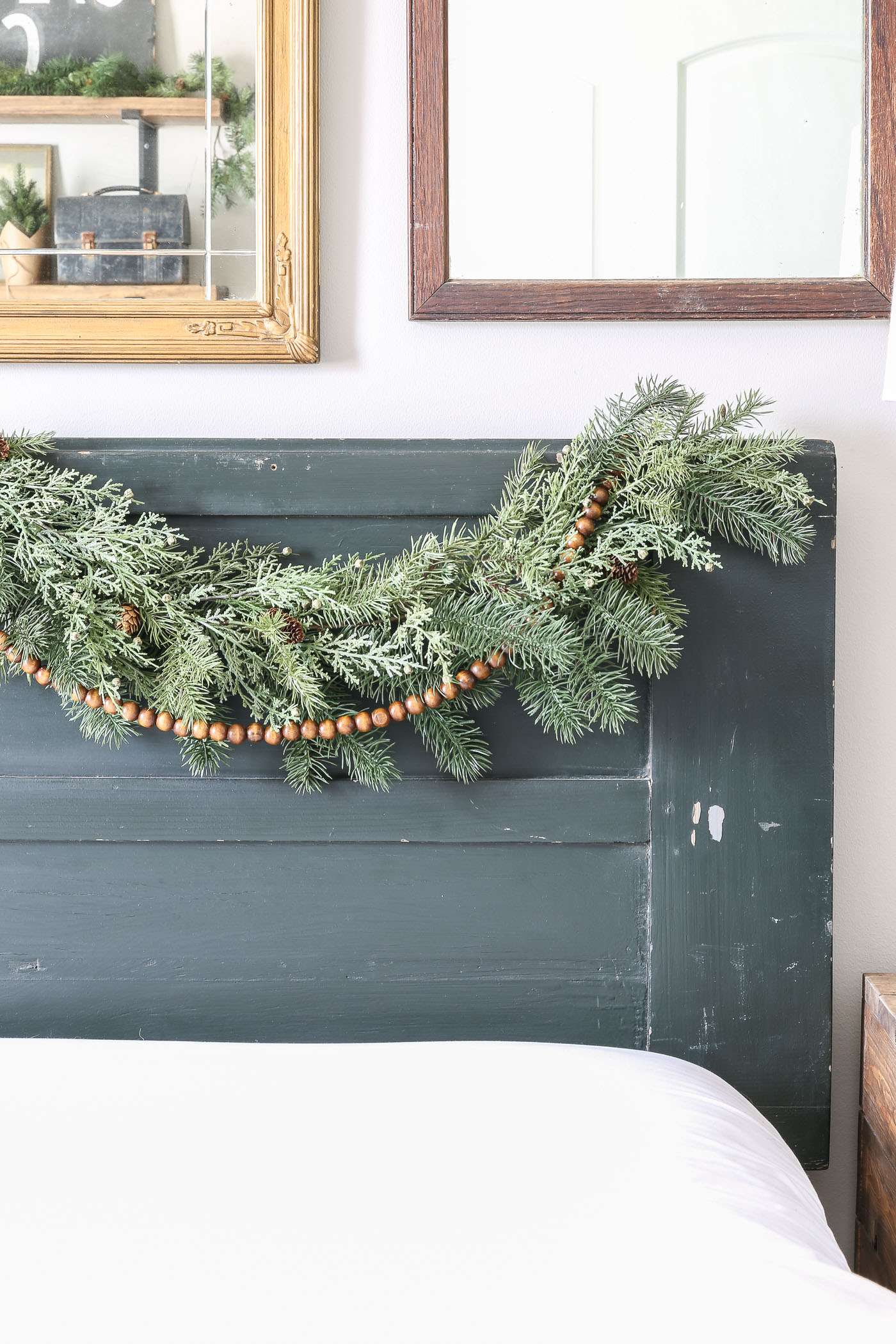How to Hang Christmas Garland on a Bedroom Headboard