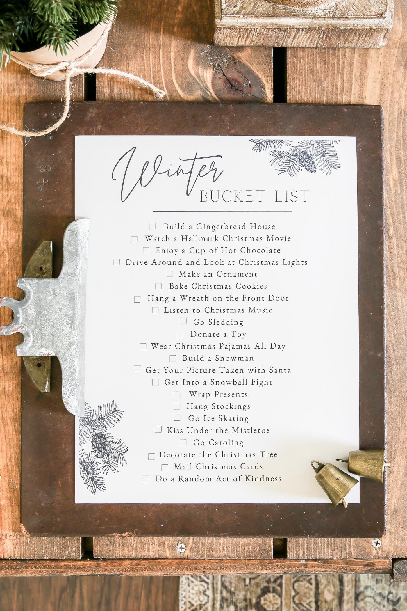 Winter Bucket List Free Printable
