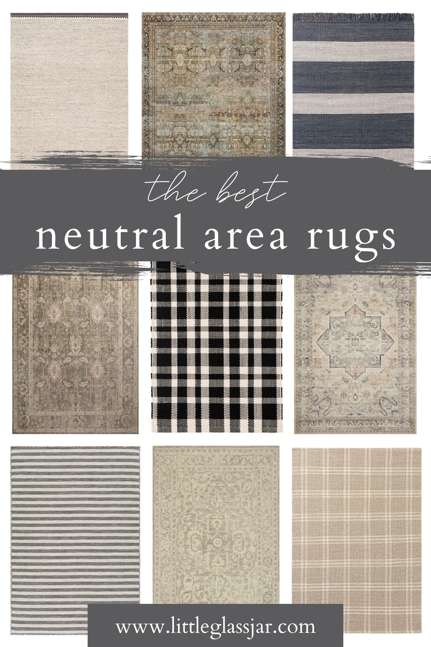 A round up of beautiful neutral area rugs.